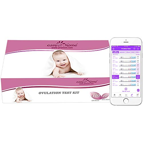 Easy@Home 100 Pruebas de Ovulación y 20 Pruebas de Embarazo Kits de Tests de Ovulación y Fertilidad, Resultados Precisos con la App Premom Español