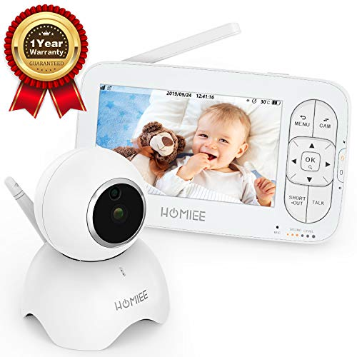"HOMIEE Video Baby Monitor, with 720P Digital Camera, 5"" LCD Screen up to 1000 Ft Range, Remote Camera Pan-Tilt-Zoom, Night Vision, Lullabies, Two-Way Audio Talk, Sound Temperature Alarm, Feeding Timer Monitors"