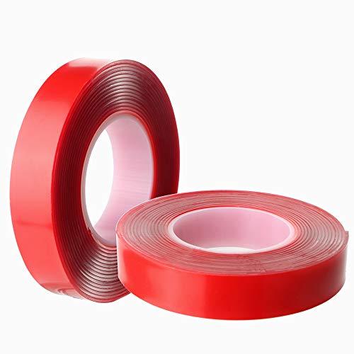 Gebildet Extrafuerte Cinta Adhesiva Doble Cara Acrílica, resistente al calor y agua, ideal para la industria automóvil y para el hogar, 1 mm de grosor, 15mm × 3m × 2 Rollos (Transparente)