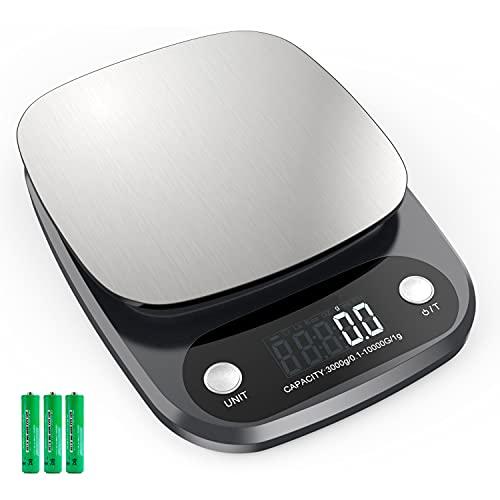 Báscula de Cocina Digital con Precisión de 0,1 g, Balanza de Cocina Capacidad de 10 kg/22 lbs, Peso de Cocina con Pantalla LCD, Báscula Digital para Cocina de Acero Inoxidable