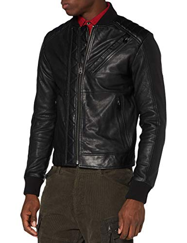 G-STAR RAW Mens Moto JKT Leather Jacket, dk Black B508-6484, Medium