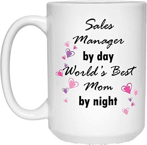 N\A ales Manager by Day World 'S Best Mom by Night Mug - Taza de café con Leche - Idea Divertida de Regalo novedoso