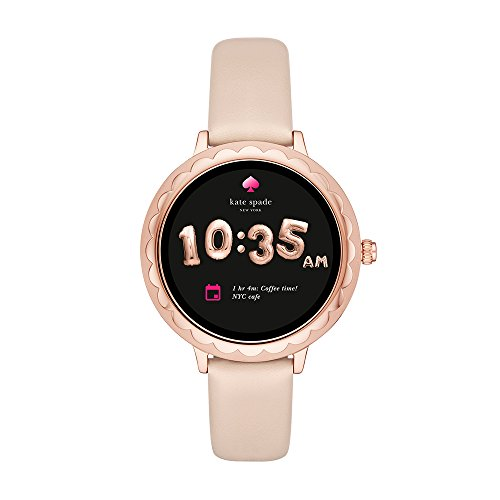 Kate Spade New York Scallop Touchscreen Smartwatch, Rose Gold-tone Stainless Steel, Vachetta Leather Band, 42mm, KST2003