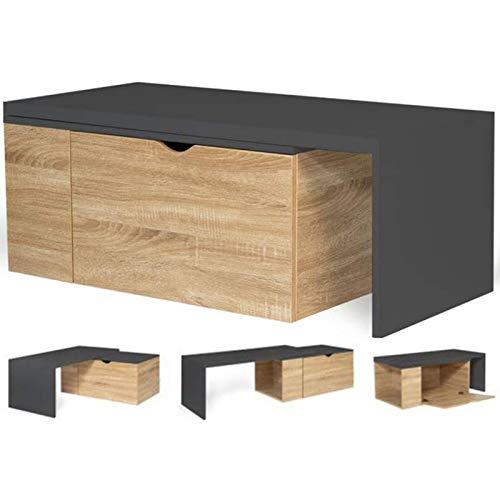 IDMarket - Table Basse rotative Bois et Gris 360° Lizzi Extensible avec Coffre