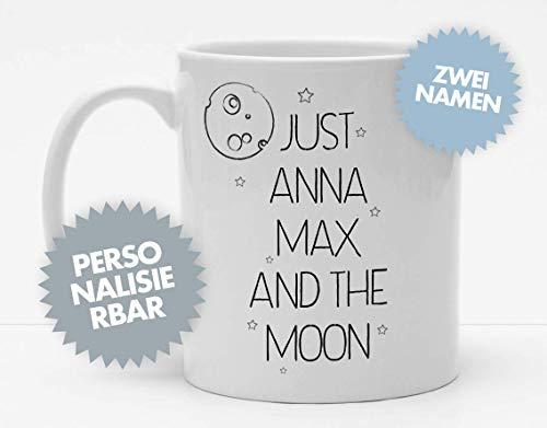 Tasse | Just ? And The Moon | Tasse mit Namen | Personalisierte Tasse | Kaffeetasse | Liebe | Liebespaar | Verliebte | Romantisch | Mond