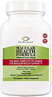 EyeScience Macular Health Formula Advanced Ocular Vitamin - Containing Lutein, Zeaxanthin, Billberry, and Vitamins C, D, E...