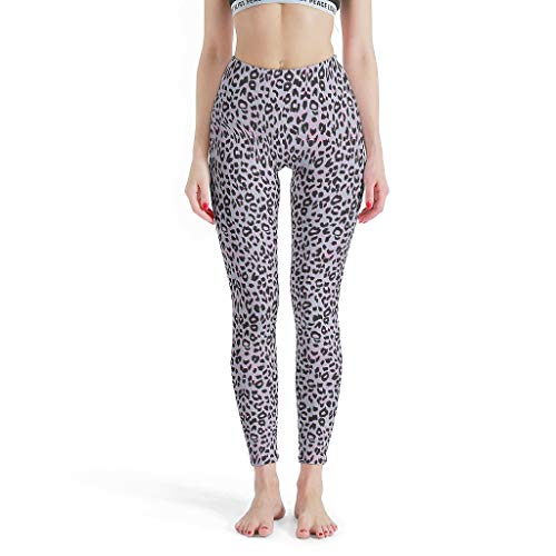 Lind88 Leoparden-Pilateshose für Damen, Leopardenmuster, Pilates-Bekleidung, modisch Bedruckt, Leggings, Coole Capris-Hose für Damen, lose M weiß