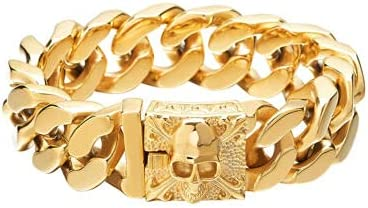 1PCS Brand Cheap Sale Venue - Max 87% OFF Mens Punk Wide Skull Steel Bracelet Chain Cuf Stainless