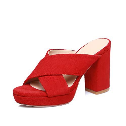 ANNIESHOE Pelle Sandali Donna Casual Eleganti Sexy Fashion Comodi Mules Tacco Alto Plateau Estivi Rosso 35CN 35EU 22.5cm