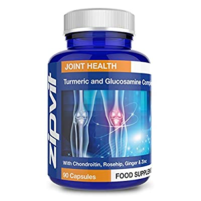 Turmeric Curcumin Plus Glucosamine and Chondroitin Complex with Vitamin C, Rosehip, Ginger and Zinc. 90 Capsules