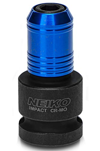 NEIKO 30275A 1/2 Drive Female to 1/4 Hex Shank Adapter Converter | Quick Release Chuck | For Impact and Ratchet Wrenches