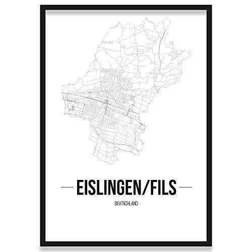 JUNIWORDS Stadtposter, Eislingen/Fils, Wähle eine Größe, 21 x 30 cm, Poster mit Rahmen, Schrift B, Weiß