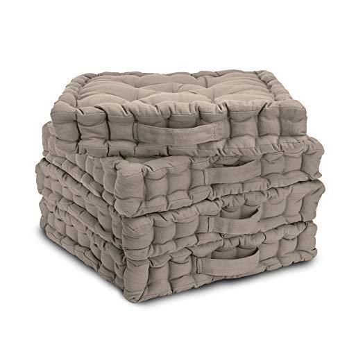 Beautissu 4er Set Matratzenkissen Mila 40x40cm Sitzkissen 8cm Dicke Bodenkissen mit Tragegriff in Taupe - Bequeme Polsterung aus 100% Baumwolle