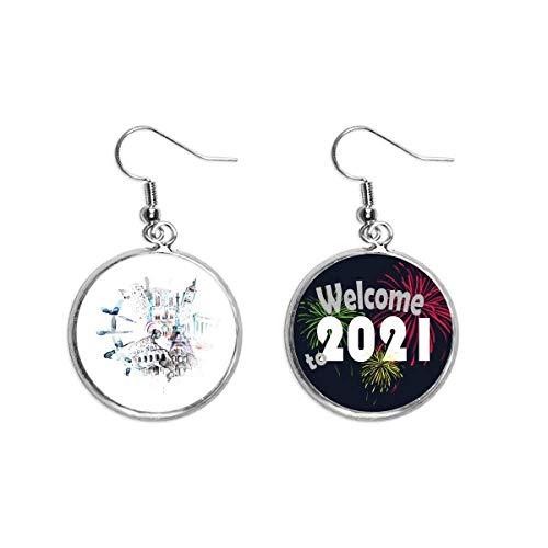 Ohrringe, Globus Big Ben, Eiffelturm, Aquarellmalerei, Ohranhänger, Schmuck, 2021 Segen