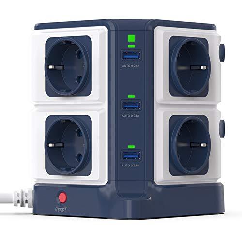 BESTEK Regleta Vertical 1500J, 8 Tomas y 6 Puertos USB Individuales, Protección contra Sobretensiones 1500J y Protección contra Rayos 3600W