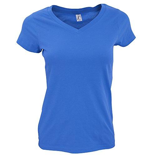 SOLS - Camiseta de Manga Corta Modelo Moon con Cuello en Forma de V para Mujer (XXL) (Azul eléctrico)