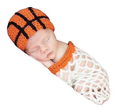 Delley babyslaapzak met haak voor basketbal en basket hoed, slaapzak, set voor kinderen van 0-6 maanden