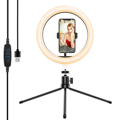 Anozer 10'' LED Anillo de Luz con Trípode Metal para Escritorio &Mejor Soporte de teléfono, Luz de 3 Colores y 10 Brillos para Selfies,transmisión en Vivo,Videoconferencia,Youtube, Maquillaje,Tiktok
