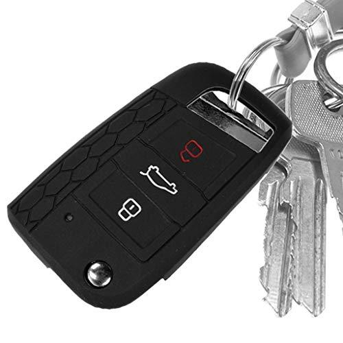 Auto Schlüssel Hülle Silikon Schutz Cover Schwarz für VW Polo Golf 7 VII GTI GTD GTE R