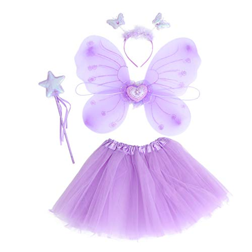 PRETYZOOM Prpura Hada Princesa Vestido Up Alas Varita Tut Falda Diadema Mariposa Traje Suministros de Fiesta para Carnaval Cosplay Fiesta Favores