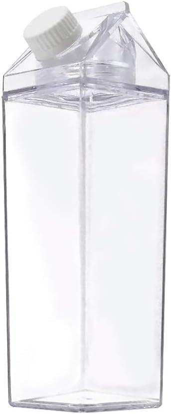Corvelia 500ml/17Oz Cute Clear Milk Carton Water Bottle Portable Drinkware for Outdoor Climbing Tour or Camping