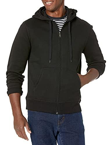 Amazon Essentials Men's Full-Zip Hooded Fleece Sweatshirt, Black, Large
