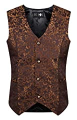 Tailored brocade design waistcoats for goth and steampunk men Adjustable strap at the back for the best fit Available in XS to 3XL (standard men's sizes)