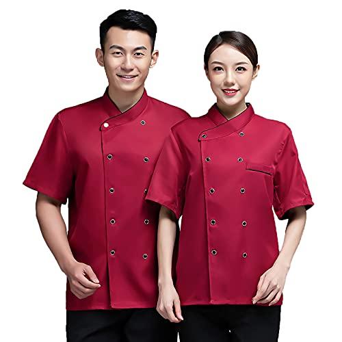 QQYXCA Chef Uniforme Manga Corta Chaqueta de Chef para Hombre Mujere Unisexo,Chef Chaqueta Personalizada Cocina con Malla Transpirable Vestir Ropa de Trabajo Uniforme,Rojo,3XL