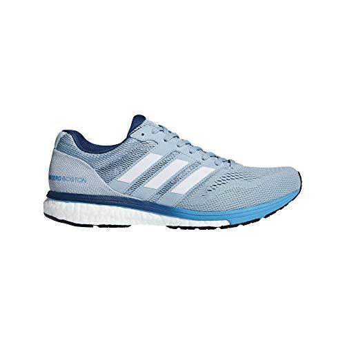 adidas Men's Adizero Boston 7 Running Shoes Ash Grey/Cloud White/Shock Cyan