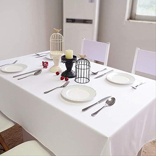 Mantel de Lino de algodón Blanco Cubierta de Mesa Rectangular Boda Banquete Fiesta Mantel Decoración de Hotel 150x280cm Blanco