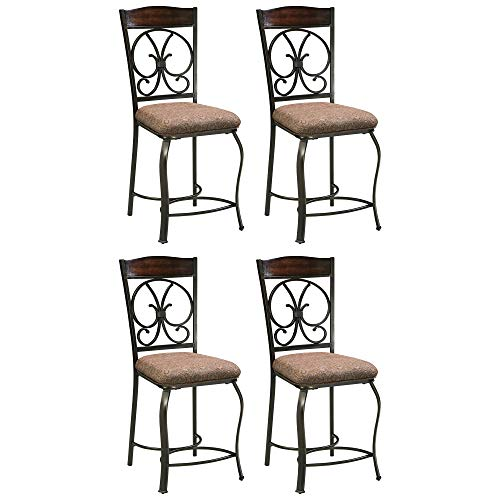 Signature Design by Ashley - Glambrey Upholstered Barstool - Set of 4 - Traditional Style - Brown