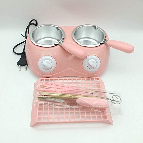Uhrenboxen für Männer Doppelschokolade Schmelzkörper Elektrische Schokoladenbrunnen-Süßigkeit Schmelzt Pot Schmelzmaschine Schokolade Fondue mit Schimmel für DIY Küche, Rosa Lingge (Color : Pink)