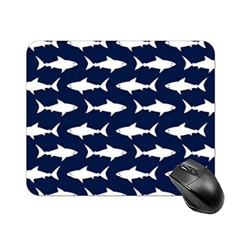 Blau und Weiß Gesichtsmaske Hai Muster Rechteck rutschfeste Gummi Mauspad Gaming Mauspad