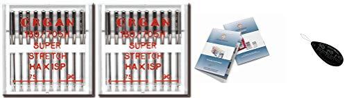 Organ Haushalts-Nähmaschinennadeln – Super-Stretch (HAX1SP) 130/705 H, 2 Packungen mit 10 Stück, Größe: 75/11, 90/14 + einzigartiger großer Nadeleinfädler & Organ-Nadel-Index