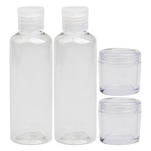 Ofoen - Kit de toilette de voyage en plastique transparent contenant 2 flacons de voyages et 2 pots de crème (lot de 4) - Conforme aux normes en vigueur pour le transport en l'avion