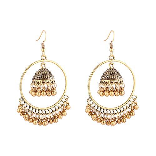 Pendientes de aro bohemios étnicos indios Jhumka Jhumki joyas campanas borla colgantes gota pendientes para mujeres de uso diario