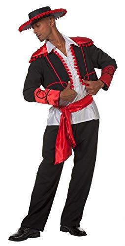 narrenkiste W5269-52 - Disfraz de torero de espolvoreador para hombre, talla 52, color negro, rojo y blanco