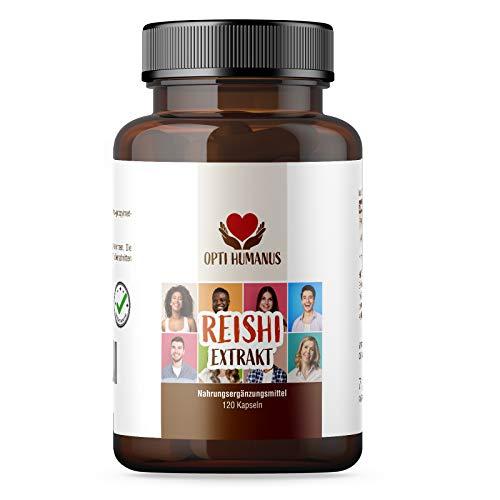 OPTI HUMANUS Vitalpilz Reishi-Extrakt Kapsel, Hochdosiert 500mg pro Kapsel davon 150mg Polysaccharide. Ohne künstliche Zusatzstoffe, Frei von Magnesiumstearat, Frei von mikrokristalline Cellulose