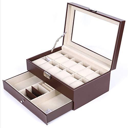 Keliour Caja de almacenamiento de reloj Caja de reloj Caja de doble capa para gafas de sol Caja de almacenamiento de cuero PU Caja de reloj (Color: Negro, Tamaño: Talla única)