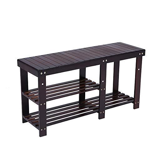 KKTONER Bamboo Shoe Rack Bench 3 Tier Entryway Shoe Storage Organizer Shelf