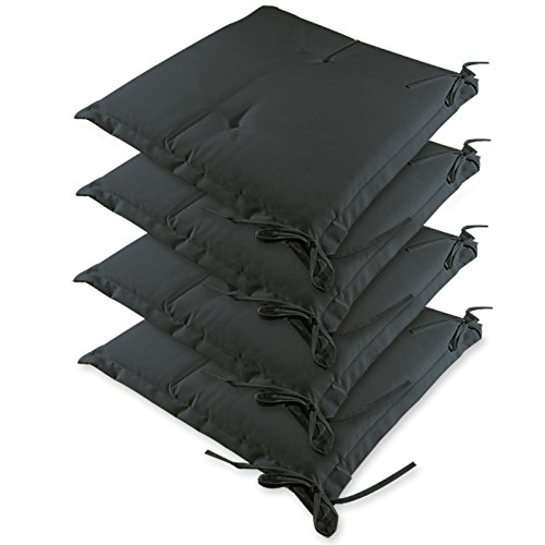 Detex® Stuhlauflagen Sydney 4er Set Wasserabweisend Kissen Sitzkissen Stuhlkissen Auflage Sitzauflage anthrazit