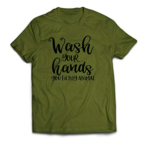 Wash Your Hands T-Shirt, Social Distance Shirt, Quarantine T-Shirt, Funny Graphic Tee (2XL, Military Green)