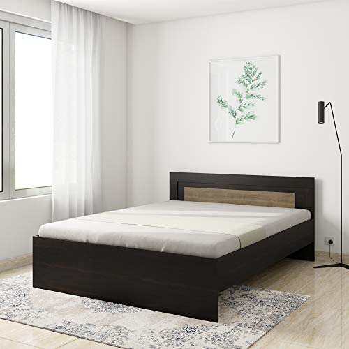 Amazon Brand - Solimo Aquilla Engineered Wood Wenge Finish Queen Bed (Brown)
