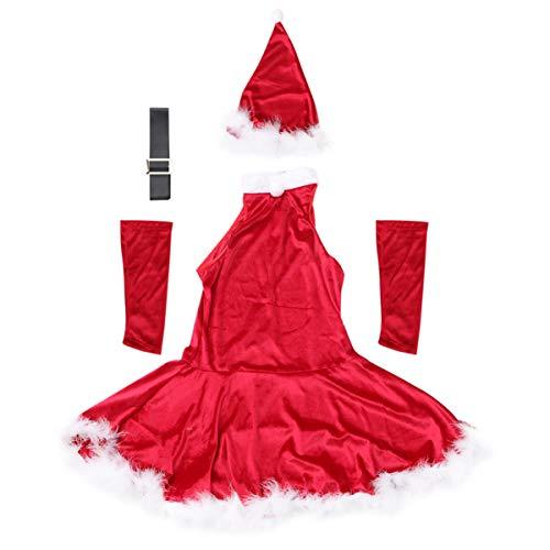 SOIMISS 1 Juego de Traje de Santa Claus para Mujer Traje de Santa Navidad Rojo de Fantasía Señorita Señora Santa Claus Trajes de Cosplay Disfraz M
