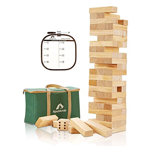 ApudArmis Giant Tumble Tower, 54 PCS Pine Wooden Toppling Tower Game with 1 Dice Set - Classic Block Stacking Game for Kids Adults Family (Storage Bag Including)