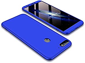 Case Huawei Honor 7C 360 Degrees protective Cover + tempered glass film, 3 in1 Full Body protection Bumper hard phone Case Ultra-thin Skin Case,for Huawei Honor 7C (Blue)