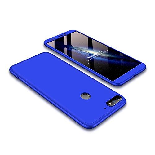 Ququcheng Kompatibel mit Huawei Y7 2018/Honor 7C Hülle,3 in 1 Ultra dünn Hard Hülle Schutzhülle+Panzerglas Schutzfolie 360 Grad Tasche Cover Handyhülle für Huawei Y7 2018/Honor 7C-Blau