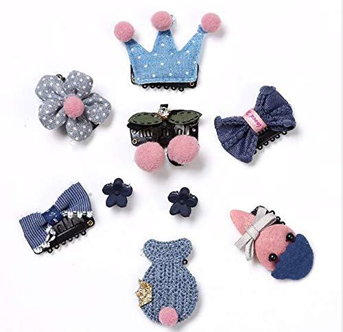 NOVAGO Lot de 9 Barrettes pinces à cheveux fantaisie décoratives pour séance photo réussie de votre enfant bébé ou jeune fille (9 Pcs, Bleu)