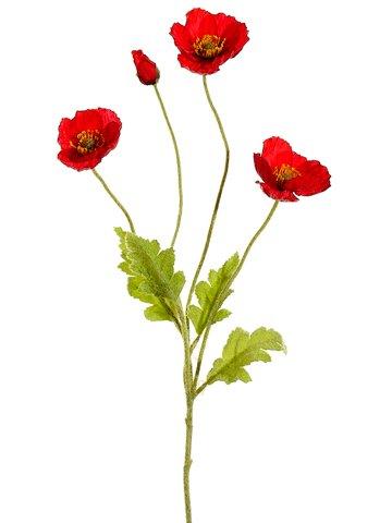 Arcadia Silk Plantation 23.6' Poppy Spray Red (Pack of 12)
