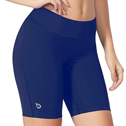 BALEAF Women's 7 Inches Active Fitness Yoga Running Shorts Pocket Blue Size L